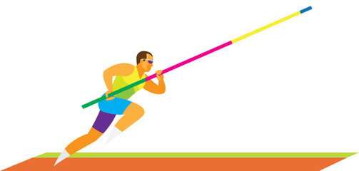 Young athlete is pole vaulter makes a run