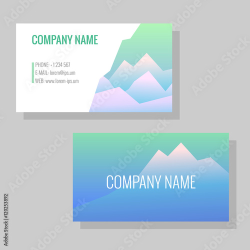Vector Template For Business Cards Image Of Snowy Mountains