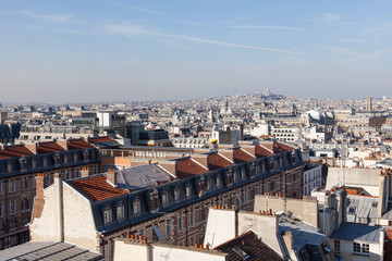 Panorama of Paris with Basilica of the Sacred Heart on the background. View from Pantheon.