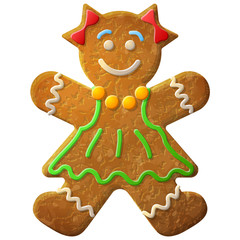 Gingerbread woman decorated colored icing. Holiday cookie in shape of girl. Qualitative vector illustration for new years day, christmas, winter holiday, cooking, new years eve, food, silvester, etc