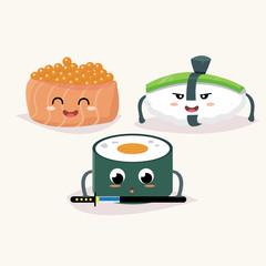 Sushi set. Soy sauce, wasabi and sushi rolls. Japanese food. Vector cartoon illustration. Cute stylish characters.
