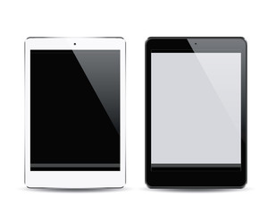 Realistic black and white tablet pc computers with blank screen isolated on white background. Vector eps10 illustration