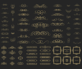 Wicker lines and old decor elements in vector.
