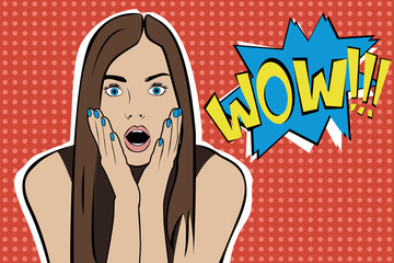 Pop art surprised brunette woman face with open mouth. Comic woman with speech bubble. Vector illustration.
