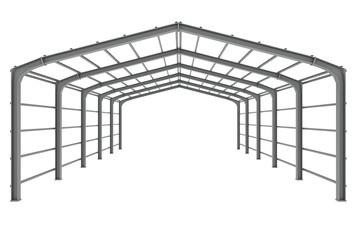 Steel skeleton of a hall, 3d illustration