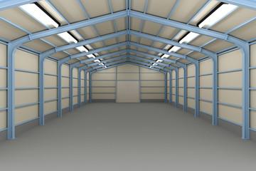 Empty Warehouse inside, 3d illustration