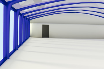 Empty commercial hall inside, 3d illustration