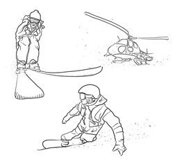 Skiing, Snowboarding and Helicopter Doodle Sketches