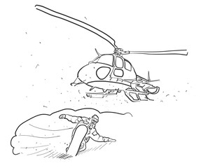 Snowboarding and Helicopter Doodle Sketches