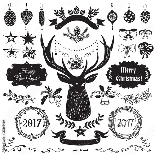 vector christmas and new year set of badges ribbons ornaments icons frames