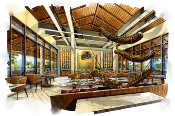 sketch perspective interior restaurant into a watercolor on paper.