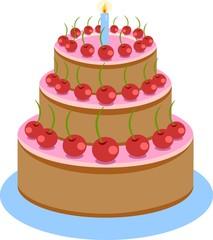 Illustration of Sweet Chocolate Birthday Cake