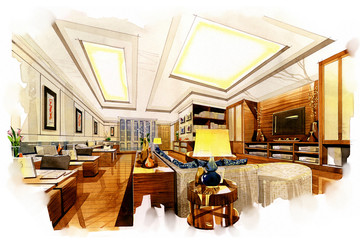 sketch perspective interior living office  into a watercolor on paper.