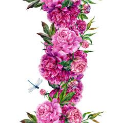 Vintage floral seamless border