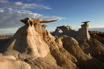 Stone Wings, rock formation at sunrise in Bisti Wilderness, New Mexico