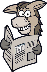 Donkey Reading Newspaper Cartoon Illustration