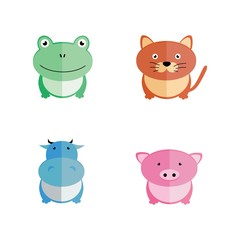 Vector flat animals. Pig, cow, cat, frog, friends people