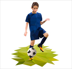 Young boy as a soccer player in grass field. Football background made with triangles. Low Poly Vector Art