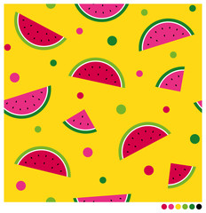 Colorful sliced watermelon and dot seamless vector pattern