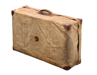 Isolated Old Vintage Dusty Suitcase in a cover on a white background