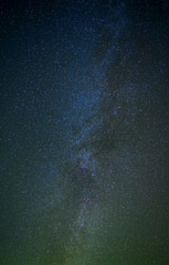 The real photo of the Milky Way. Stars, constellations and galaxies in the black sky