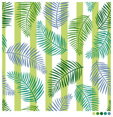 Palm leaves seamless vector pattern with striped background
