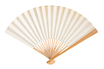 blank traditional folding fan isolated on white