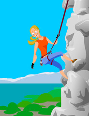 climber blonde girl clings to the safety belts on a cliff on the
