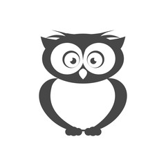 Vector icon. Flat style. The outline of the bird. Owl