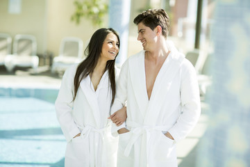 Young couple in the spa