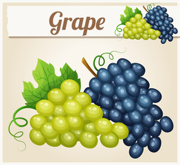 White and blue grape bunches. Cartoon vector icon