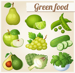 Set of cartoon food icons. Green food. Pear, lime, peas, apple, grapes, cucumber, avocado, artichoke, kale
