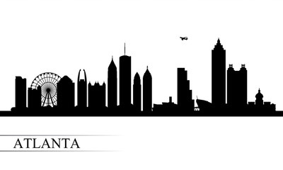 Atlanta city skyline silhouette background