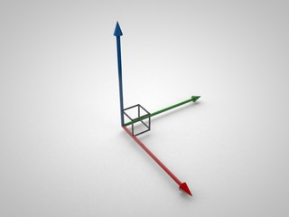 3D illustration of 3d coordinate axis