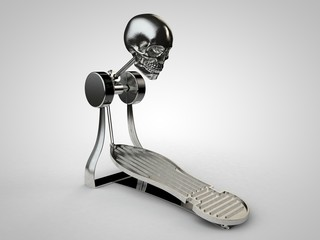 3D illustration of bass drum pedal with skull