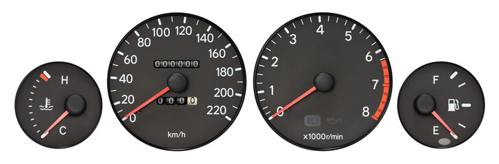 set of car gauge ( radiator temperature meter, speedometer, Tachometer, fuel meter )