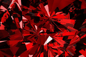 Red Diamond and Crystal Close-Up Texture Background, 3d rendering