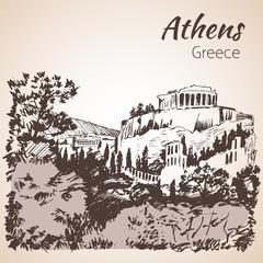 Athens outline sketch - Greece.