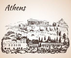 Athens outline sketch - Greece. Isolated on white background