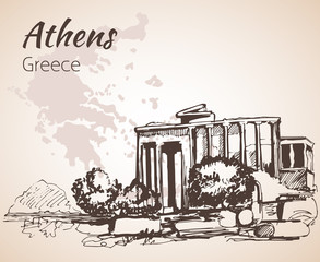 Athens ruin outline sketch - Greece.