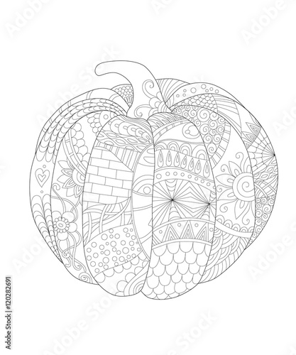 Quot hand drawn decorative pumpkin with beautiful floral