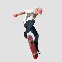 young skater doing a jump on a skateboard, vector illustration