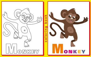 Coloring Book for Kids with letters and words. Litter M. monkey.