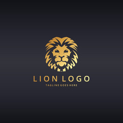 Lion logo. Lion head. Logo template suitable for businesses and product names. Easy to edit, change size, color and text.