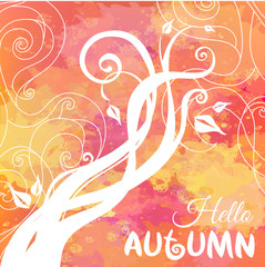Hello Autumn. Watercolor Abstract Autumn Background. Free place for your text. Vector colorful nature illustration. EPS-10