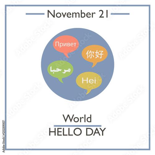 "World Hello Day: ""World Hello Day. November 21"" Stock Image And Royalty"