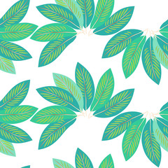 Exotical tropical seamless pattern with palm leaves. Vector.