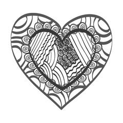 heart shape. love passion ornament romance decoration. silhouette vector illustration