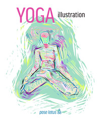 Expressive and meaningful vector yoga graphics and illustration.