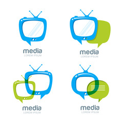 Media and tv news vector logo design template. Television broadcast concept. Isolated tv speech bubble icons set.